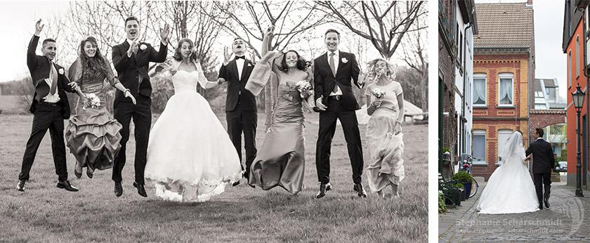 image-61260 + 61086: modernes Gruppenfoto an Hochzeitslocation Neimeshof in Kempen ( DE ) 19.4.2013