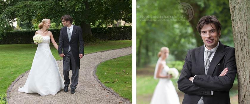 Hochzeitsfotos – ein Spaziergang mit dem Hochzeitsfotografen im Schlossgarten des Schloss Leyenburg (in Rheurdt, Kreis Kleve)