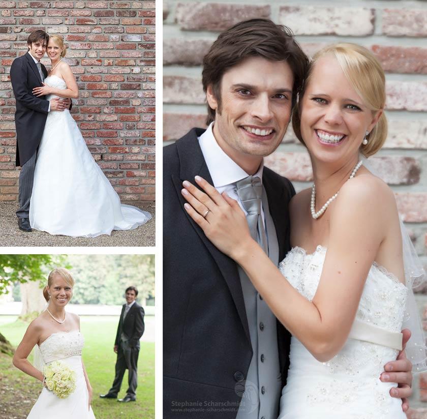 Hochzeitsfotos – Portraits eines fröhlichen Brautpaares – Schloss Leyenburg (in Rheurdt, Kreis Kleve)
