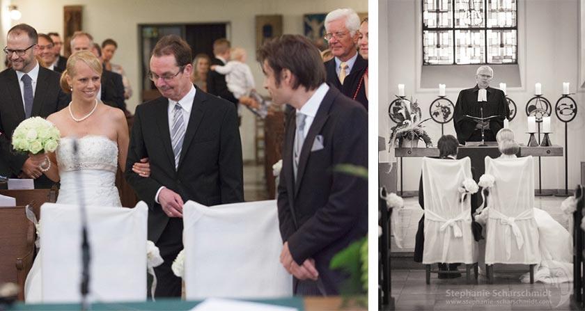 Hochzeitsfotos als bleibende Erinnerungen – Einzug in die Kirche Evangelische Dorfkirche Duisburg Friemersheim