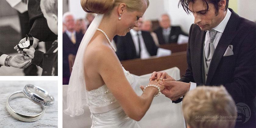 Hochzeitsfotos – romantischer Ringwechsel bei der Kirchlichen Trauung in der Evangelische Dorfkirche Duisburg-Friemersheim