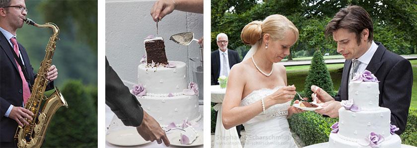 Hochzeitsfotos – Hochzeitstorte bei Musik im Schloss Leyenburg (in Rheurdt / Neukirchen-Vluyn)